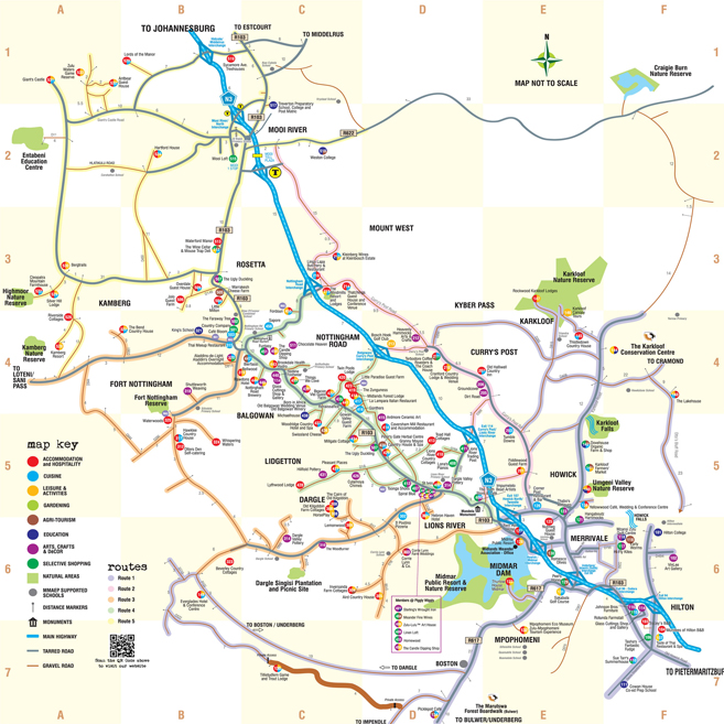 Midlands Meander Touris Map with Midlands Meander Routes in the Drakensberg